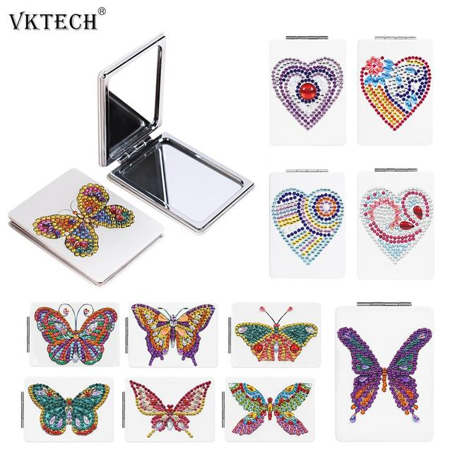 Butterfly/Heart DIY Special Shaped Diamond Painting Mirror Women Girl Ultra-thin Mini Makeup Mirror Embroidery Cross Stitch Kit 1