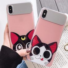 Mirrorcase untuk iPhone 6/6 S/6 P/6 S Plus/7/8/7 P /8 P/X/X/Xsmax/XR IMD Kucing Gadis Makeup Phonecase(China)