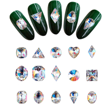 100pcs nails shiny glass rhinestone Triangle/Oval/Rectangle/Waterdrop Design K9 Nail Rhinestones Clear AB Glass Strass Sto