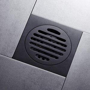 Image 2 - シャワー排水平方風呂ストレーナー髪アンティークブラスブラック浴室床ドレングリッド廃格子洗濯機の排水カバー
