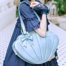 цена на Sweet lolita big shell bag cute bowknot kawaii girl shoulder bag loli cosplay gothic lolita bag