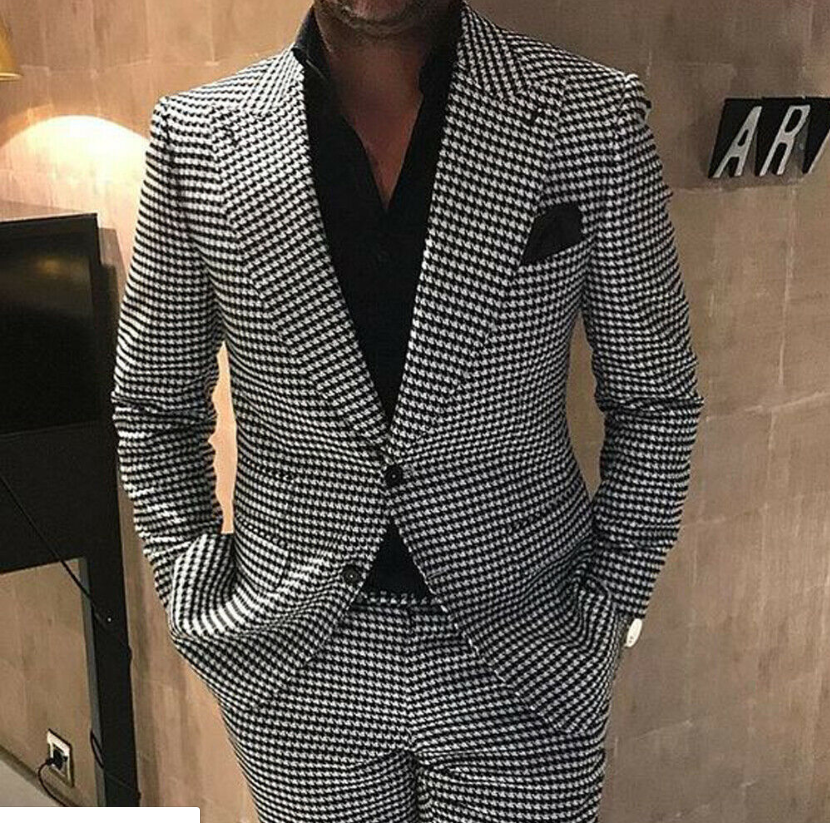 2020 Mens Black&White Houndstooth Tweed Blazer Suits Two Button Three Piece  Groom Prom Wedding Tuxedos Lapel