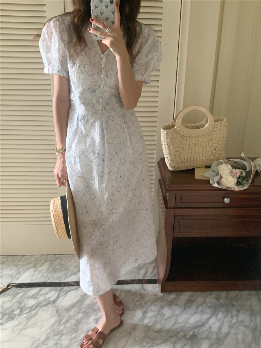 H2f6c3e80c8e5404298b61b36c7a3908dK - Summer V-Neck Puff Sleeves Floral Print Buttons A-Line Midi Dress
