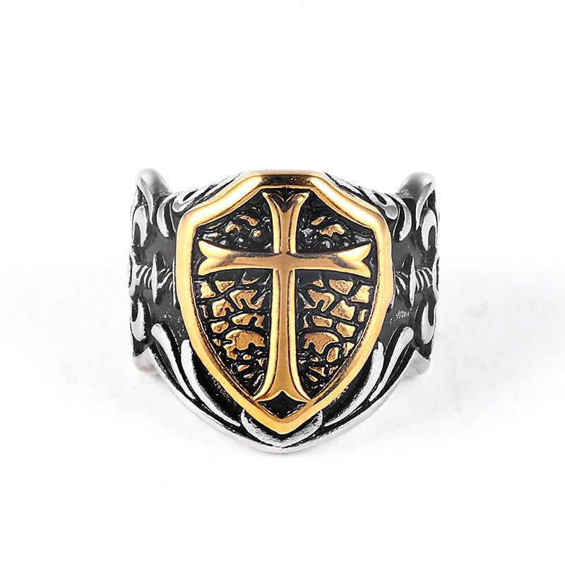 Knights Templar Cross Pria Cincin Segel Warna Emas Perak Titanium Stainless Steel Pria Cincin Biker Punk Hip Hip DCR106