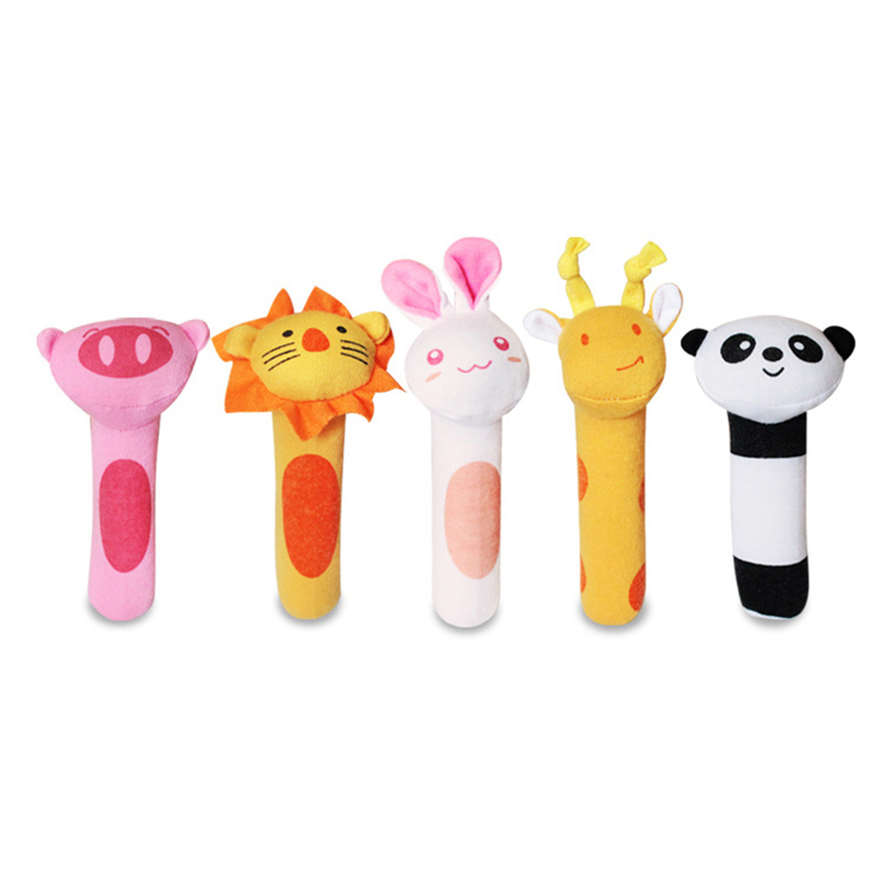 0-12 Months Baby Hand Rattles Plush Cartoon Animal Hand Bell Practice Hands Soft Cute Washable Kid Toys For Newbron Infant Gift