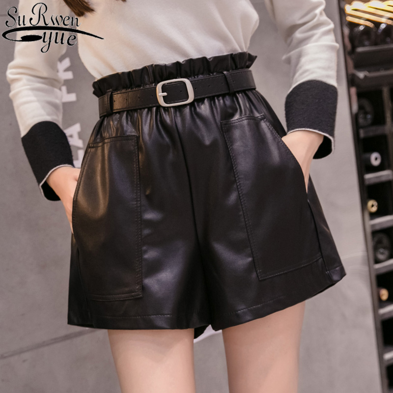 Autumn Winter Women Girls A-line Elegant Leather Shorts Solid Bottoms Wide-legged Shorts Fashion High Waist Shorts 6312 50