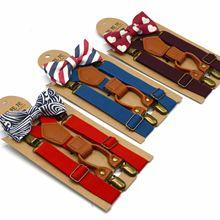 Tie-Set Printing Children's Hanging Fashion Solid 4-Clip Trouser-Press Elastic-Straps