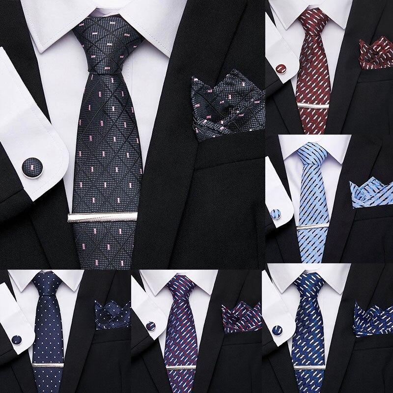 Vangise Fasion Stripe Plaid Neckties Geometric 7.5cm 100% Silk Tie Clip Cuffink Handkerchief Tie Set Formal Dress Accessories