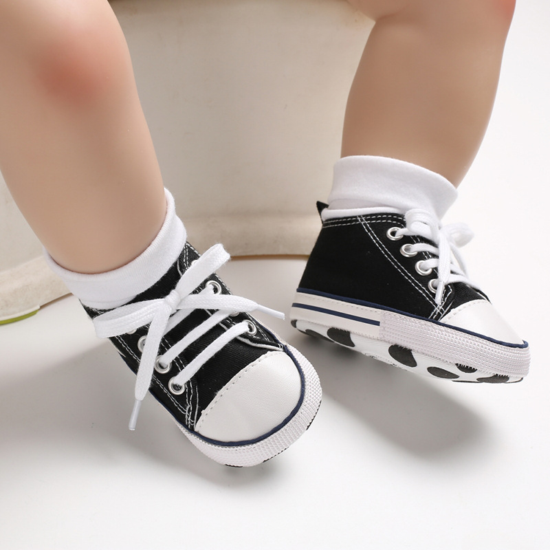 Hot Newborn Baby Casual Shoes Toddler Infant Boys Girl Crib Shoes Canvas Tennis Shoes Kid Skater Sneakers Anti-Slip First Walker