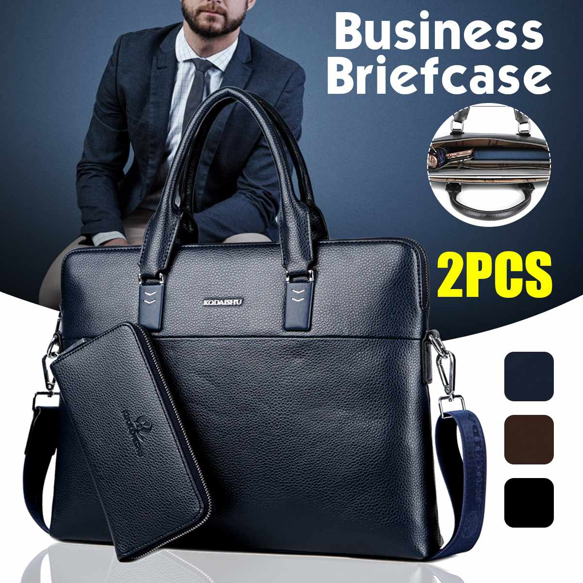2PCS Fashion Men's Business PU Leather Briefcase Bag With Purse Handbag Laptop Shoulder Bags Messenger Bags Bolso Hombre Maleta