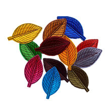 1 PCS Rainbow Green Color Leaf Patches Iron On Embroidered Patch Applique for Garment T Shirts Pants Bags DIY Craft Supplies(China)