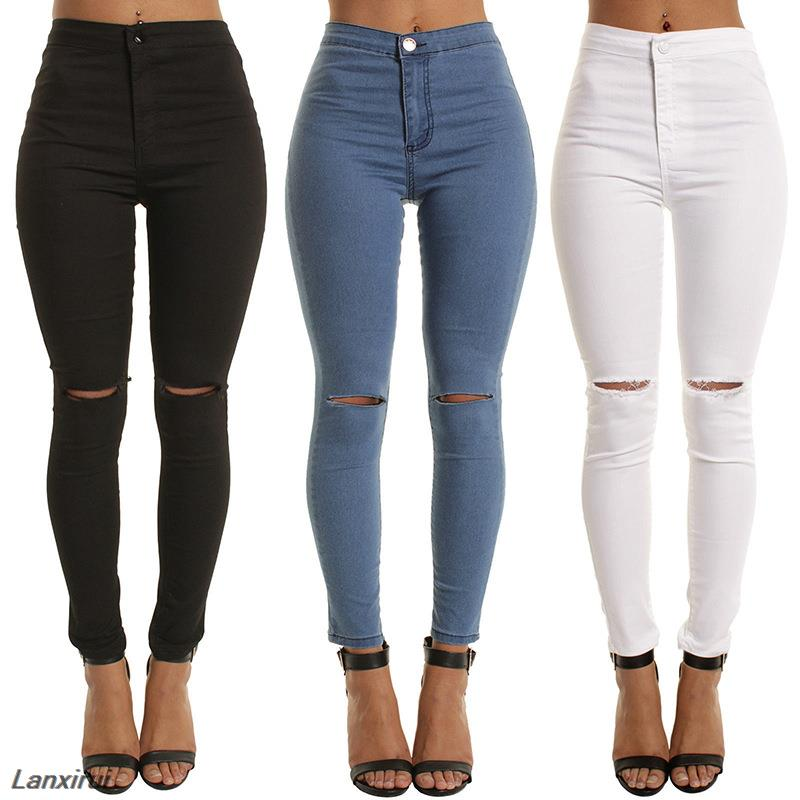 New Fashion Sexy Knee Hole Fitness Leggings Women Elastic Stretch Imitation Leather Leisure Slim Fit Pencil Pants Leggings