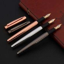 Qualidade de luxo 886 caneta caneta caneta cinza lacado torção cobre elegante m nib caneta tinta escritório escrita suprimentos novo