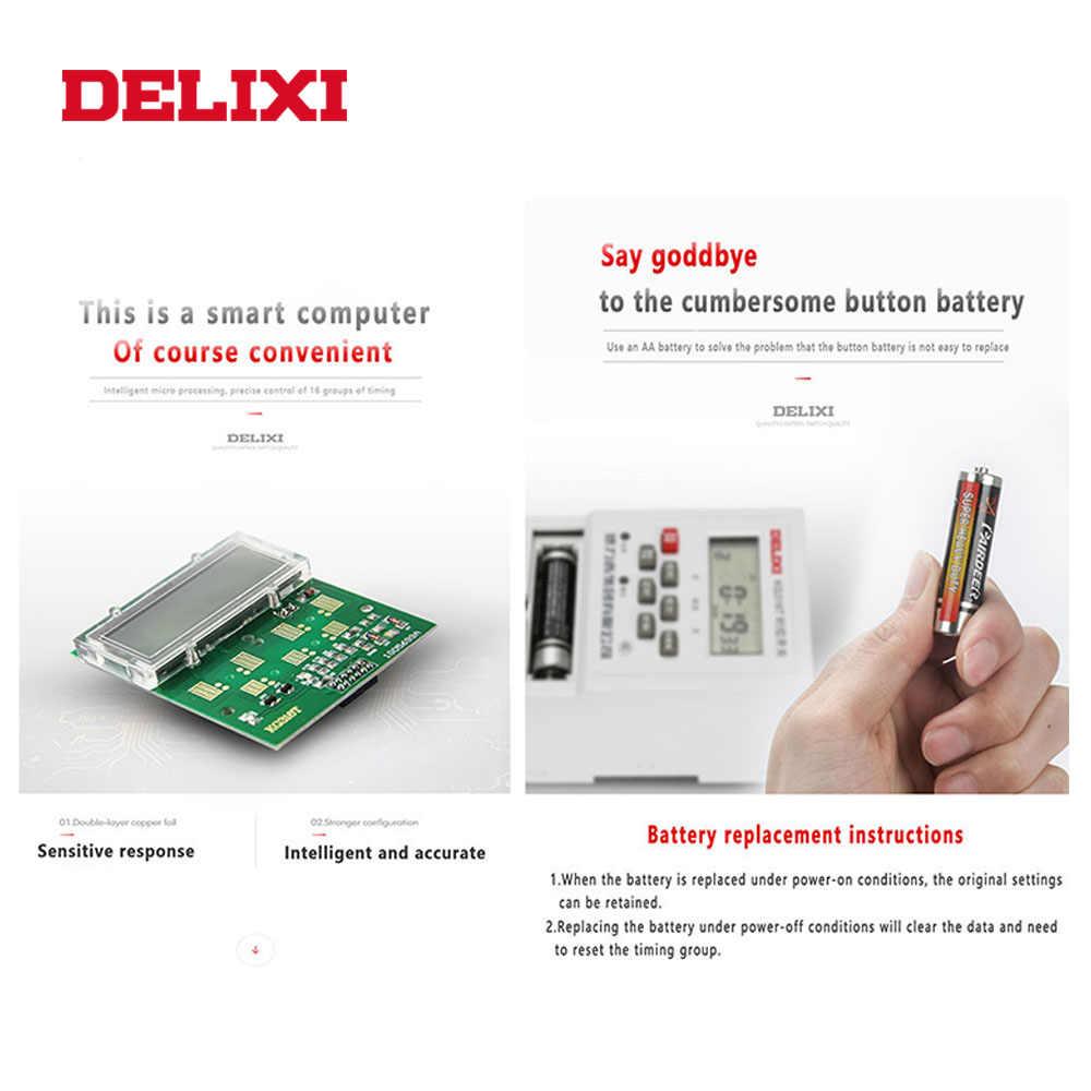 DELIXI temporizador interruptor relé AC 110V temporizador programable control electrónico semanal 7 días Digital LCD potencia para bomba de agua