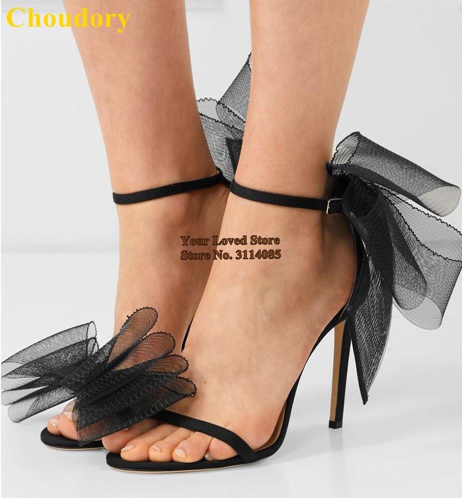 Choudory Newest White Black Big Bowtie High Heel Sandals Satin Mesh Butterfly-Knot Dress Pumps Bride Shoes Thin Heels