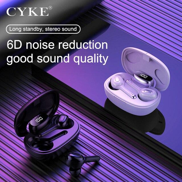 CYKE yeni akıllı kablosuz TWS Bluetooth kulaklık çeviri kulaklık dijital ekran güç şarj depo spor kulaklıklar