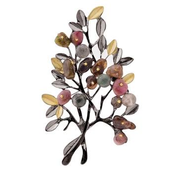 Broches elegantes con forma de rama de tulipán para jóvenes, broches con forma de hoja, ramo de alta calidad, regalo de fiesta, abrigo, sombrero, broches decorativos de regalo