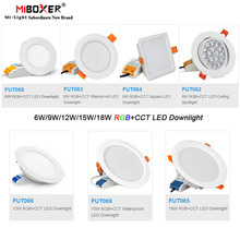 Miboxer 6ワット/9ワット/12ワット/15ワット/18ワットrgb + cct ledダウンライト調光可能な天井AC110V 220v FUT062/FUT063/FUT066/FUT068/FUT069/FUT089
