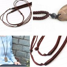 1PC Vintage Ethnic Handmade Wood Pendant Necklace Adjustable Rope Chain Long Sweater Chain for Women Men Special Gift special antique handmade necklace suit professional wood resin production special jewelry gifts for men and women