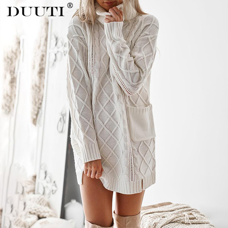 New Spring Women Turtleneck Sweater Dress Sexy Twist Thickened  Winter Long Sleeve Knitted Dress Warm Pullovers Female D30