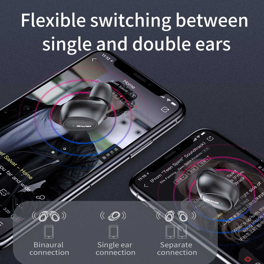 AWEI TWS T6C Mini bluetooth słuchawki V5.0 bezprzewodowe ładowanie słuchawki douszne z mikrofonem słuchawki stereofoniczne hifi sportowy zestaw słuchawkowy Touch Control