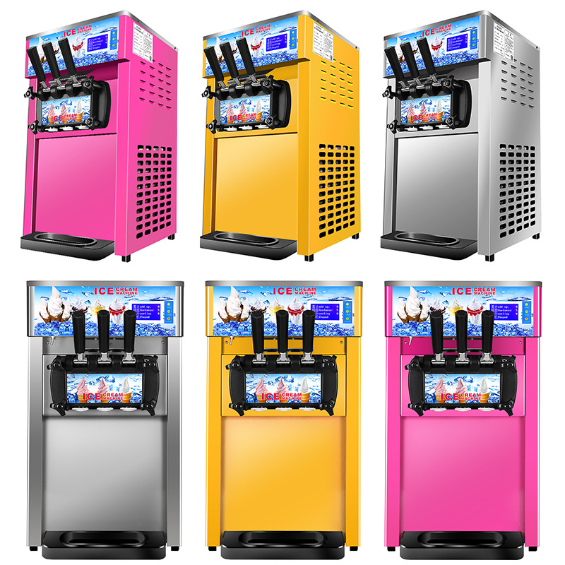 Table Type Ice Cream Machine Commercial Use Small Power Soft Ice Cream Machine Small Size Three Color Ice Cream Machine 110V