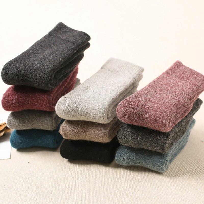 Autumn Winter Cotton Super Thicker Women's Socks Solid Color Merino Wool Rabbit Socks Warm Sweat Women Socks High Quality Socks