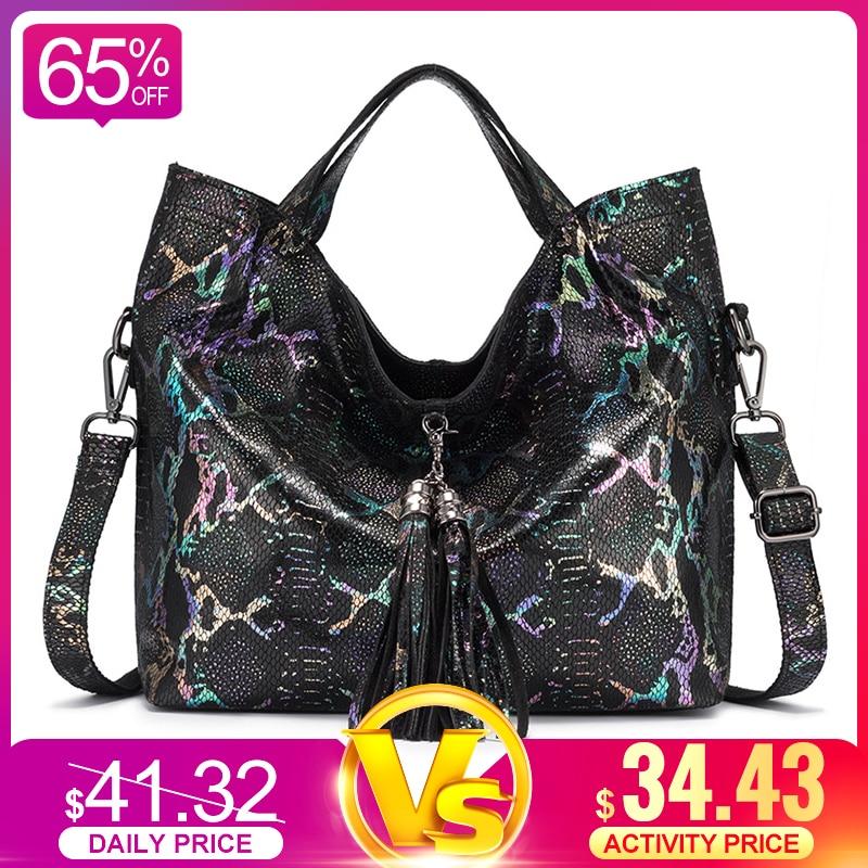 REALER Genuine Leather Women Handbag Large Capacity Tote Bag Female Colorful Serpentine Prints Ladies Shoulder Bags With Tassel