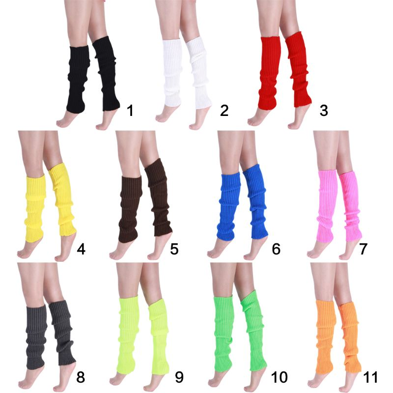 Women 80s Neon Fluorescent Ribbed Knit Crochet Leg Warmers Bright Solid Color Dance Long Footless Socks Party Accessories