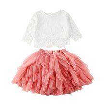 От 1 до 6 лет комплекты одежды для маленьких девочек, однотонные кружевные топы принцессы, футболка, юбка-пачка, осенний комплект