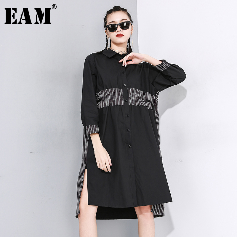 [EAM] Women Black Striped Split Drawstring Blouse New Lapel Long Sleeve Loose Fit Shirt Fashion Tide Spring Autumn 2020 1N483