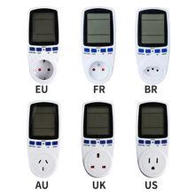 220V AC Digital LCD Power Meter Wattmeter Buchse Leistung Kwh Energie Meter FR UNS UK AU BR Messung Meter outlet Power Analyzer