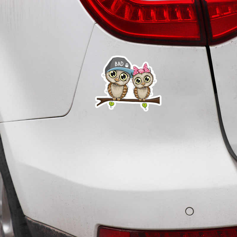 Aliauto belle voiture autocollants Couple hibou debout sur l'arbre accessoires PVC décalcomanie pour Lada Vesta Peugeot Passat Mazda, 14cm * 11cm