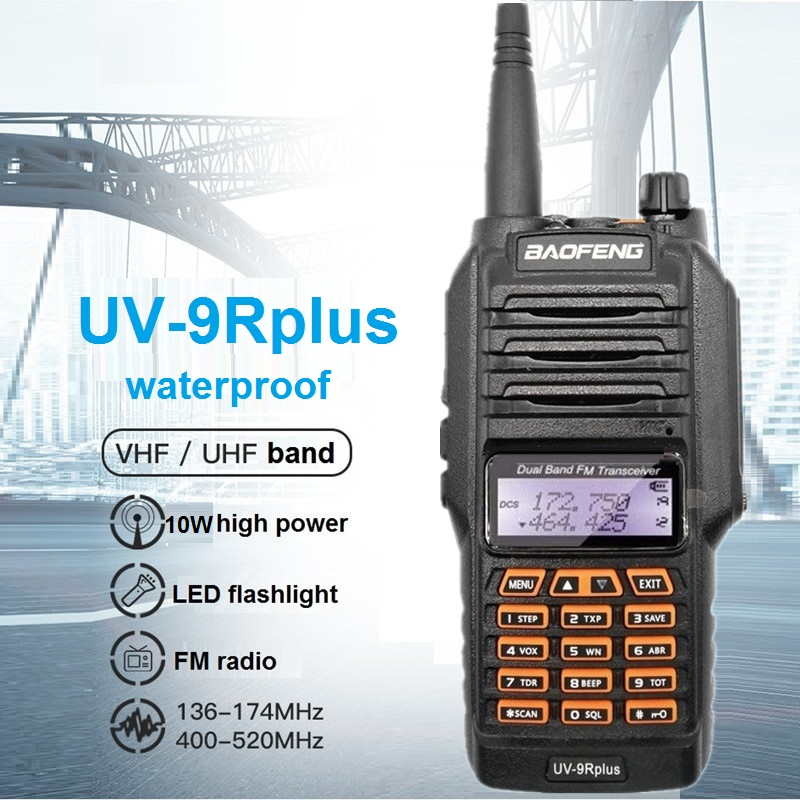 10W Baofeng UV-9R Plus Walkie Talkie Waterproof CB Ham Radio Scanner UHF VHF Transceiver Radio Amateur UV-9R For Hunting 10KM
