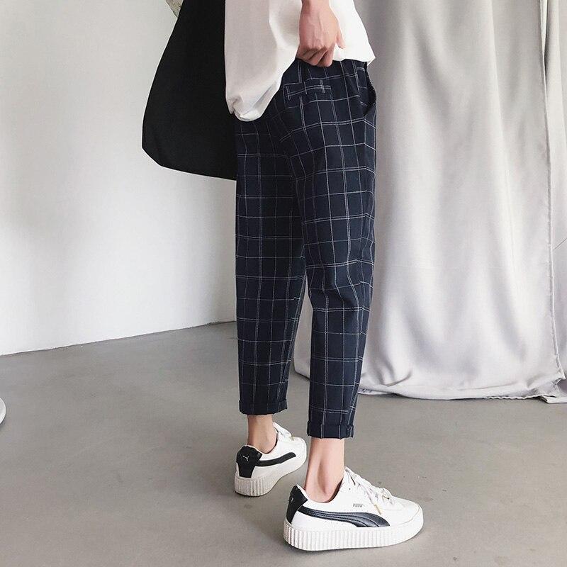 Summer Ankle-Length Pants Pants Men Plaid Casual Streetwear Korean Style Pencil Trousers