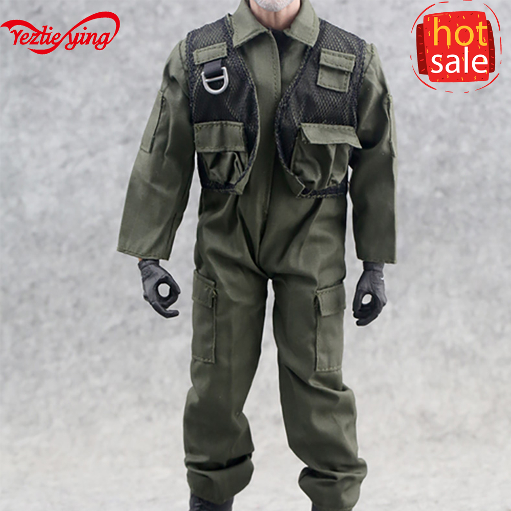"1//6th Scale Green Jumpsuit Pilot Suit Coverall Model For 12/"" Male Action Figure"