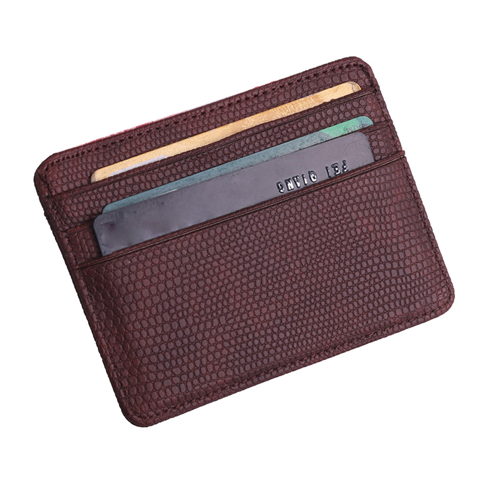 Unisex Fashion Women Lichee Pattern Bank Card Package Coin Bag Card Holder Small Wallet Card Holder