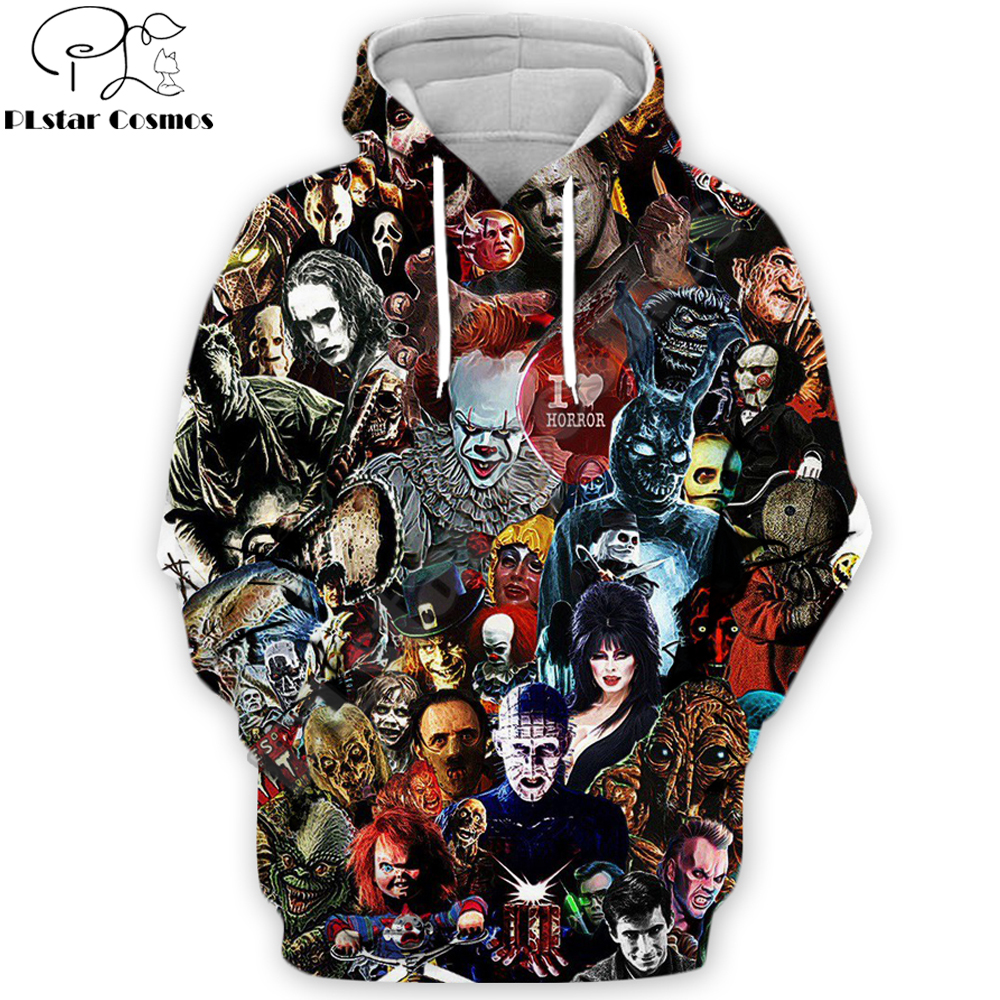 2019 Movie IT Pennywise Hoodies Stephen King 90s Horror Movie Printed Men's Sweatshirt Cosplay Men Women Streetwear Zip Hoodie
