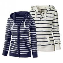 Женский осенне-зимний Повседневный теплый свитер в полоску с длинными рукавами и капюшоном на молнии с карманом из хлопка, куртка с капюшоном