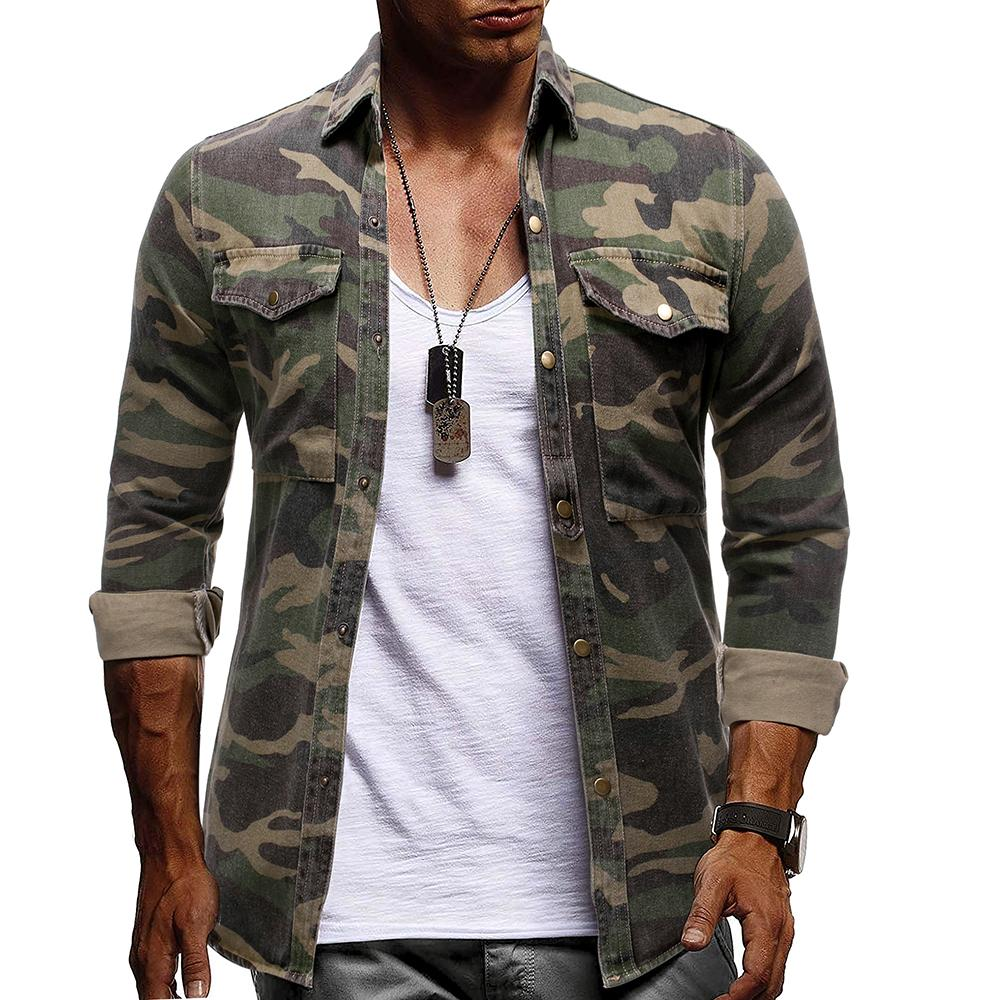 Camouflage Denim Shirt For Man Army Green Long Sleeved Loose Jeans Shirts Men's Blouse New Arrival