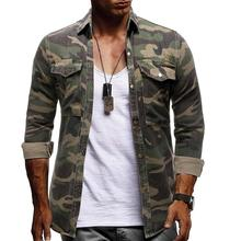 Camouflage Denim Shirt for Man Army green Long sleeved Loose Jeans Shirts Mens Blouse New Arrival