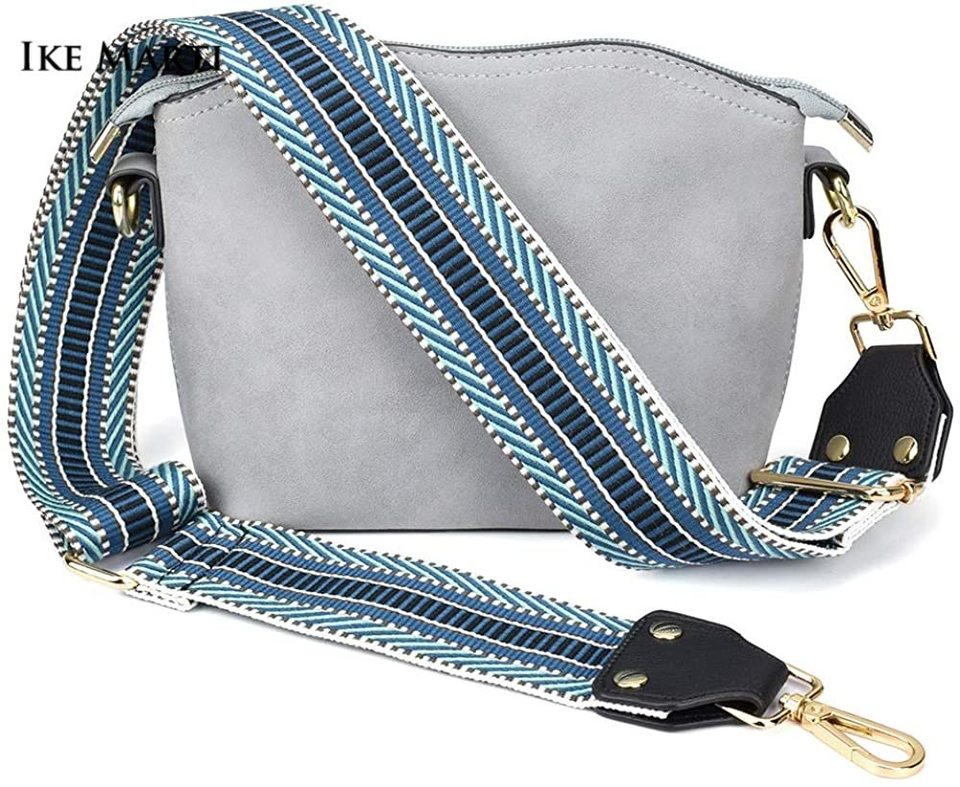 Purse Bag Strap Replacement With Jacquard Woven Cotton and Leather Ends