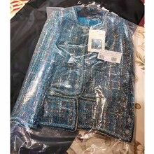 Cosmicchic Women Autumn Elegant Tweed Jacket Luxury Wool Tweed