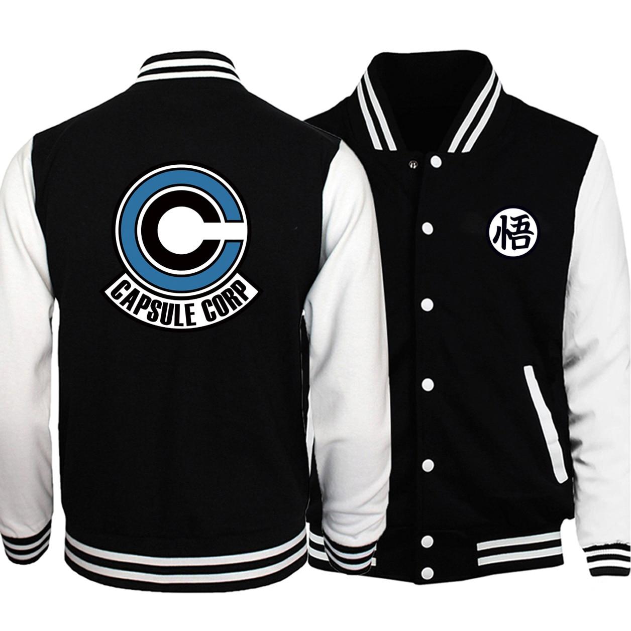 Dragon Ball Z Capsule Corp Baseball Uniform Printed Men Jackets Coats Autumn Fleece White Black Tracksuit Bomber Streetwear