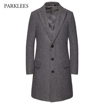 Boutique Mens Gray Wool Trench Coat 2019 Winter Brand New Woolen Long Overcoat for Men Slim Fit Casual Abrigo Largo Hombre 6XL