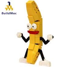 Buildmoc dança amarelo banana mini blocos engraçado novidade ver frutas interativo montar brinquedos brinquedos
