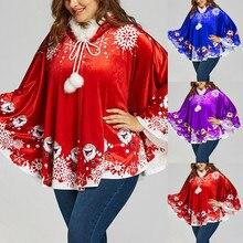 Winter Christmas Cloak For Womens Snowflake Print Hooded Cloak Ponchos Cloak Matching Venonat Hooded Cape Coat #01