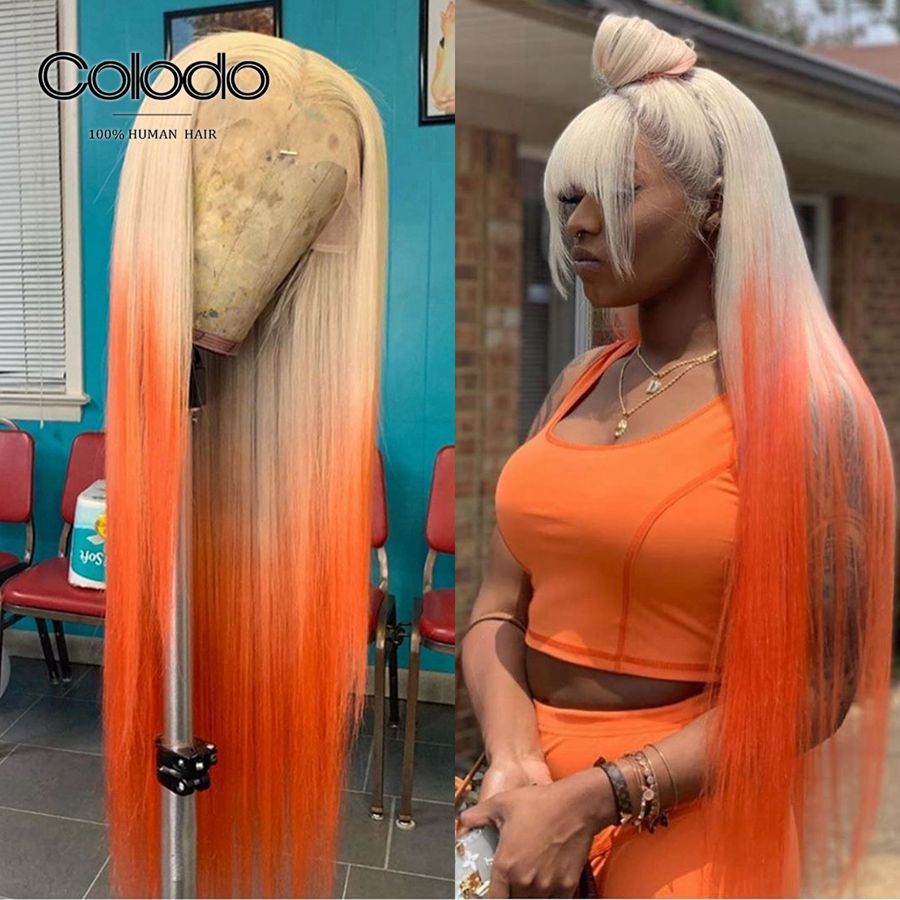 COLODO Pre Plucked Ombre Orange Wig With Bangs Yellow Remy Brazilian Wig 150% Density Blue Lace Front Human Hair Wigs For Women