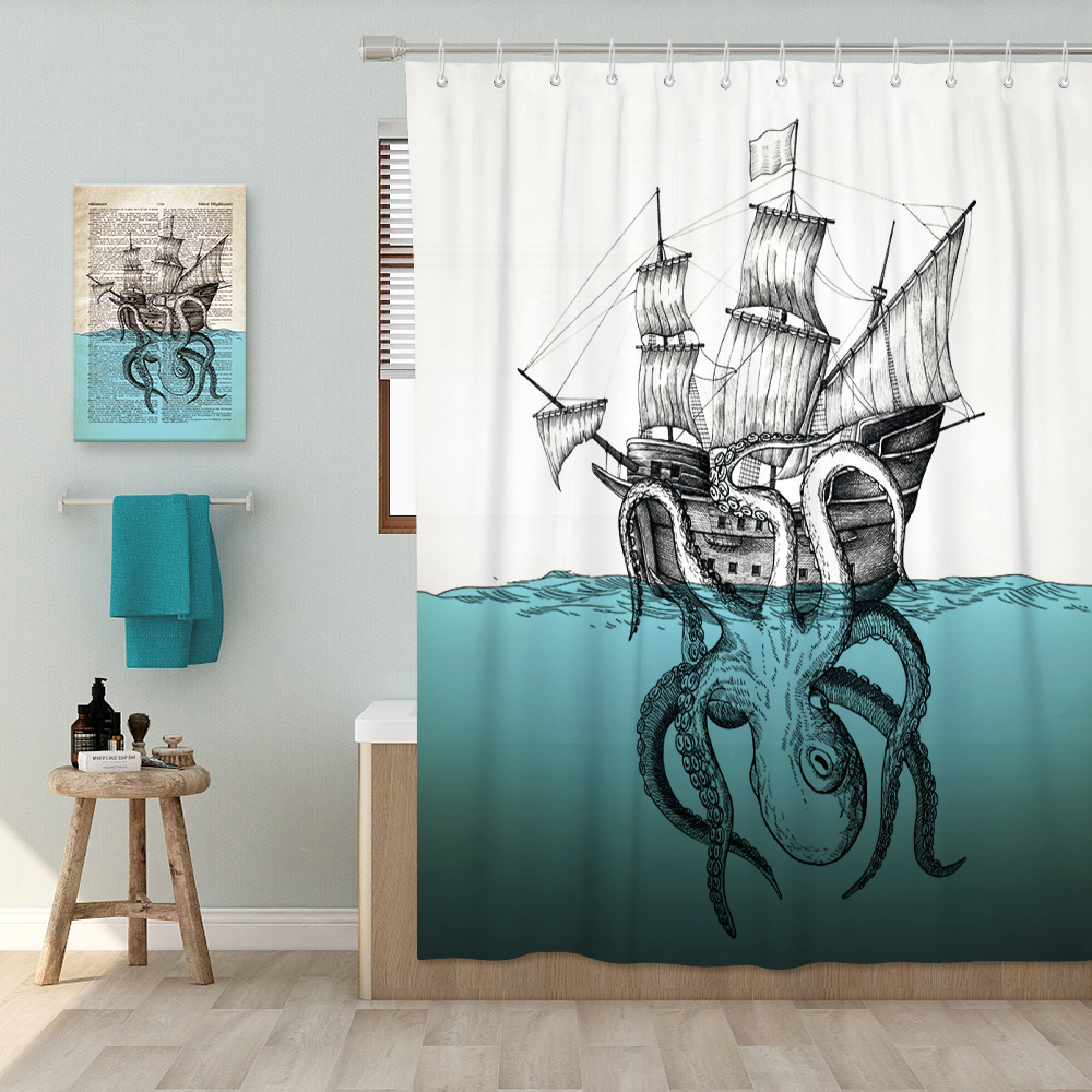 Octopus Shower Curtain for Bathroom Nautical White Blue Ocean Artwork Fabric Curtains Set Waterproof Mildproof Bath 72x72