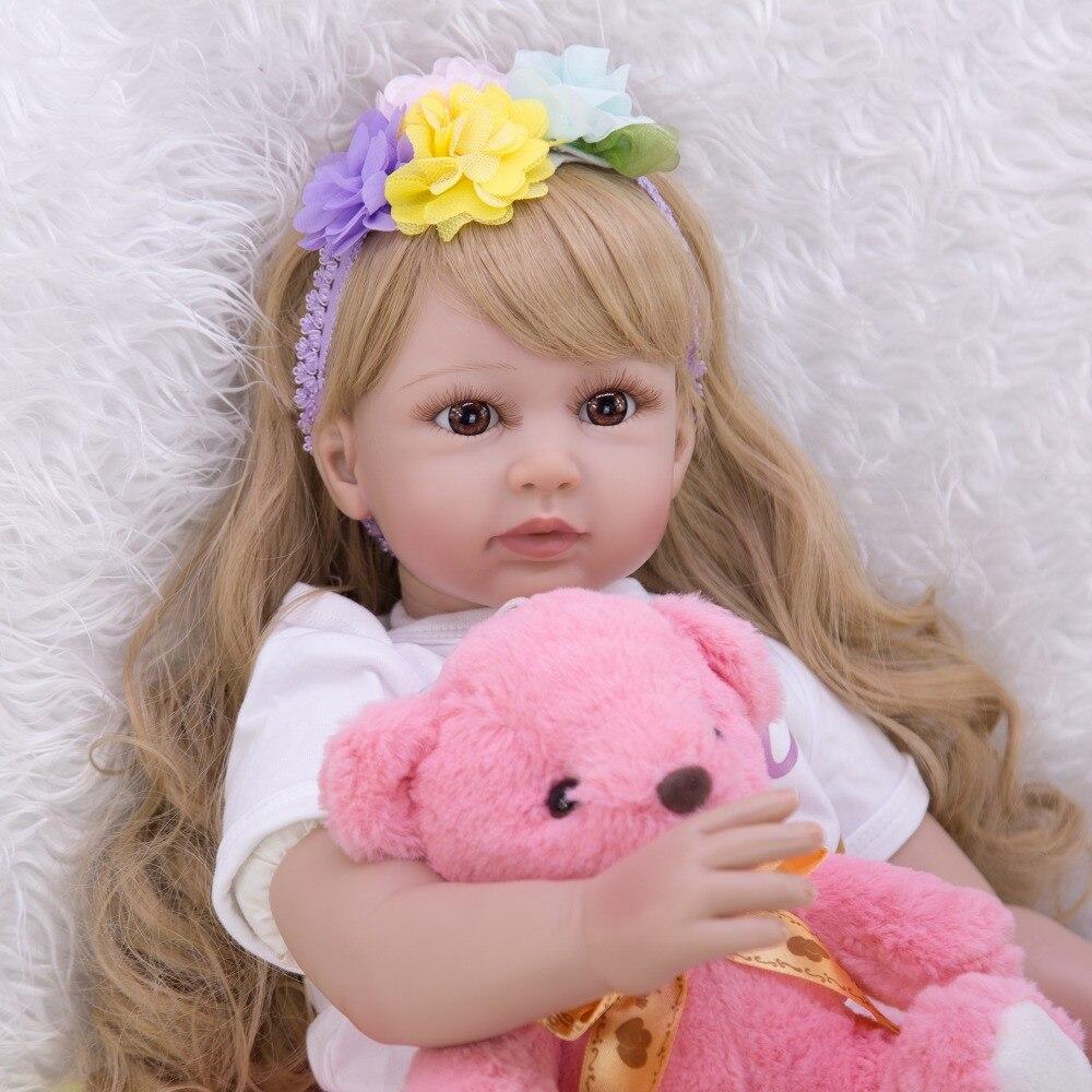 Grand 60 cm bebes Reborn bambin fille poupées réaliste princesse blonde perruque silicone vinyle Reborn bébé poupée lol pour enfants cadeau jouets - 5